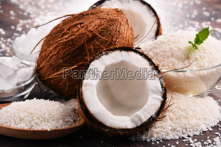 composition, with, bowl, of, shredded, coconut - 23492075
