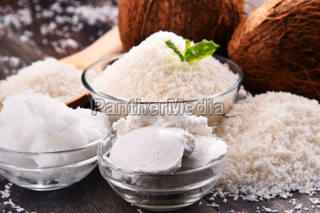 composition, with, bowl, of, shredded, coconut - 23492085