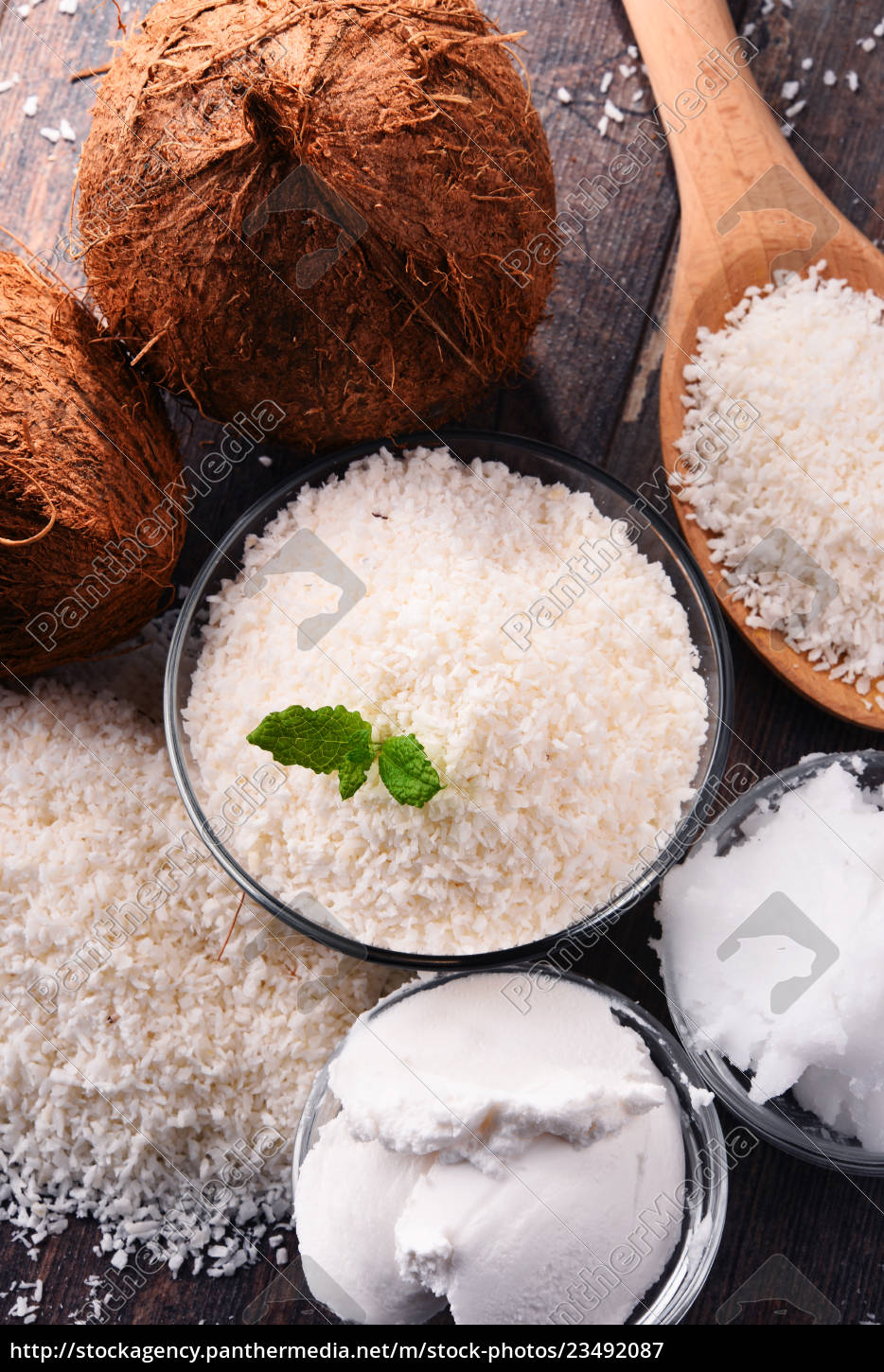 composition, with, bowl, of, shredded, coconut - 23492087