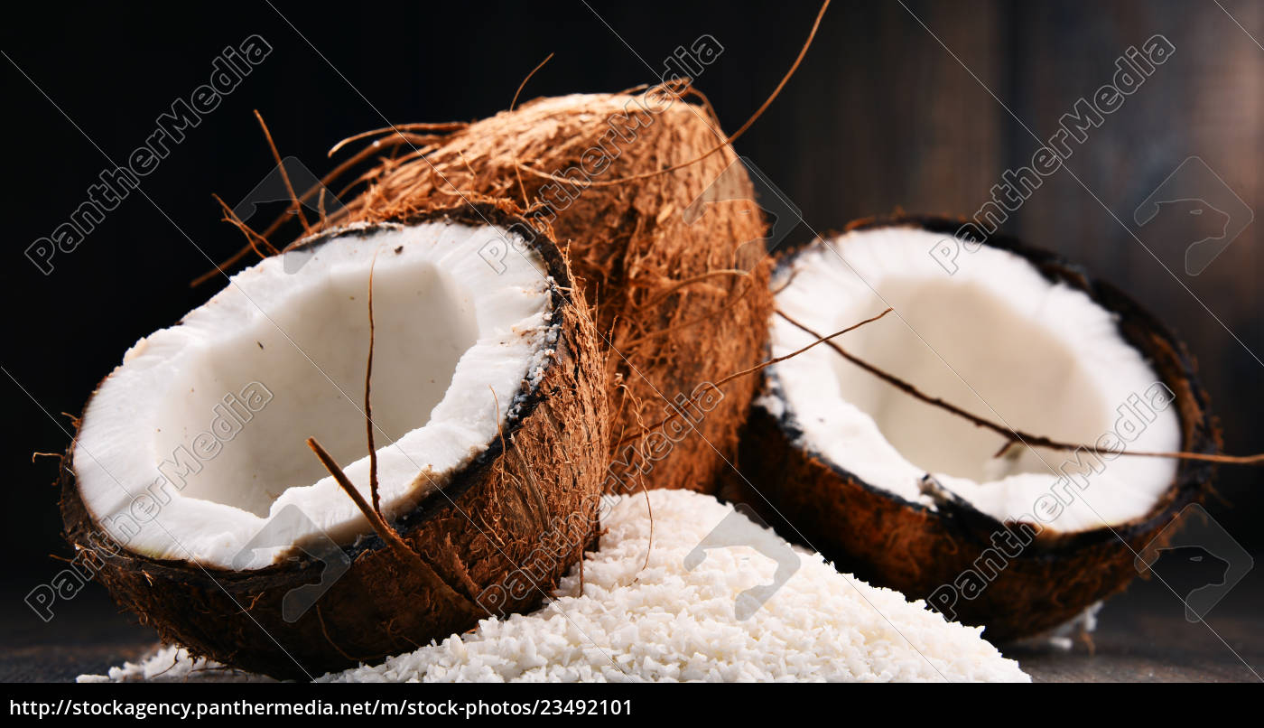 composition, with, bowl, of, shredded, coconut - 23492101