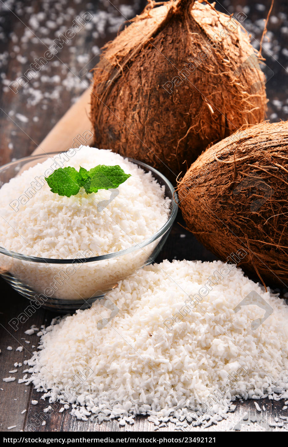 composition, with, bowl, of, shredded, coconut - 23492121