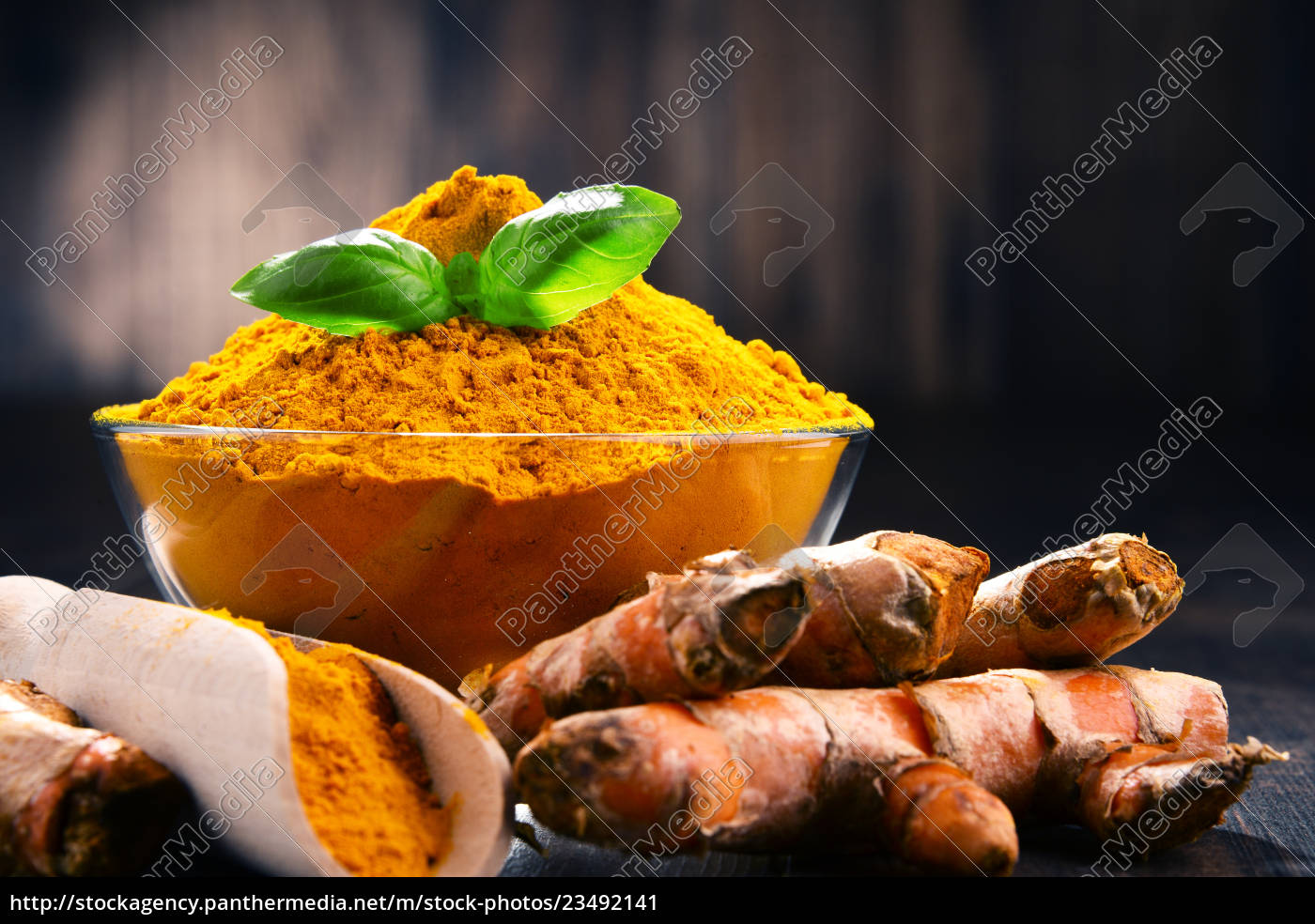 composition, with, bowl, of, turmeric, powder - 23492141