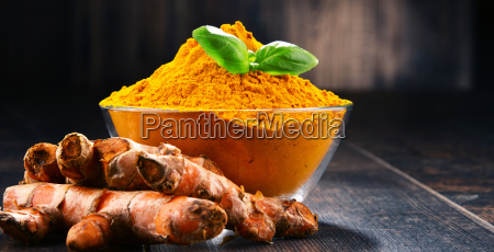 composition, with, bowl, of, turmeric, powder - 23492147