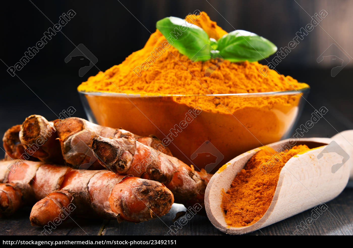 composition, with, bowl, of, turmeric, powder - 23492151