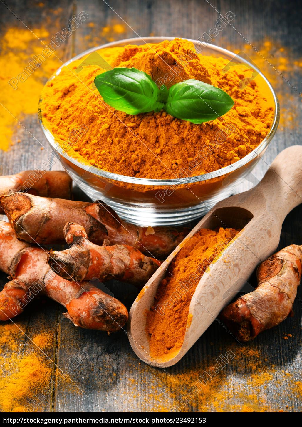 composition, with, bowl, of, turmeric, powder - 23492153