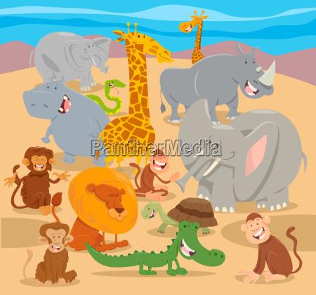 safari wild animal characters cartoon