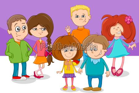cartoon children friends characters group