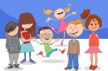 happy cartoon children characters group
