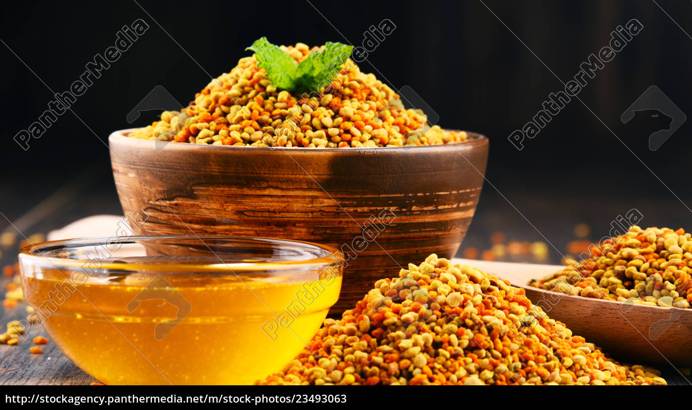 bowls, with, bee, pollen, and, honey - 23493063