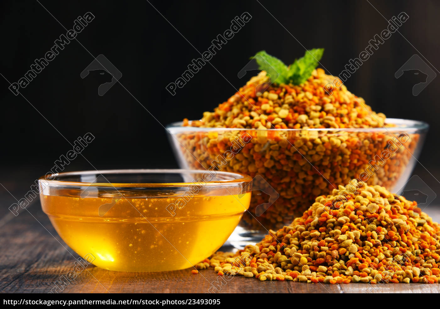 bowls, with, bee, pollen, and, honey - 23493095