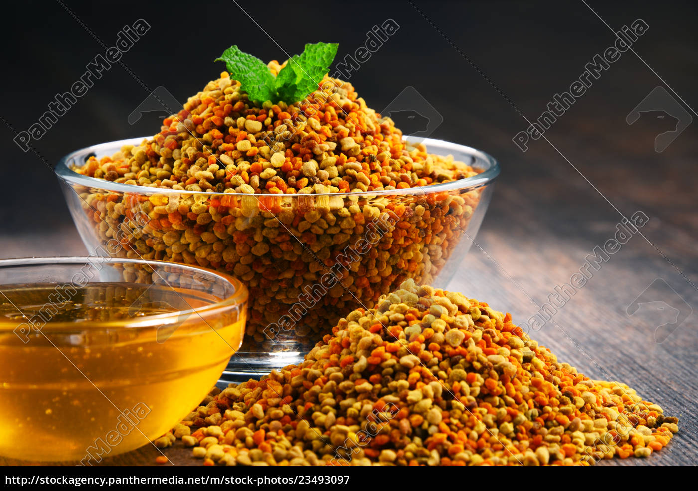 bowls, with, bee, pollen, and, honey - 23493097