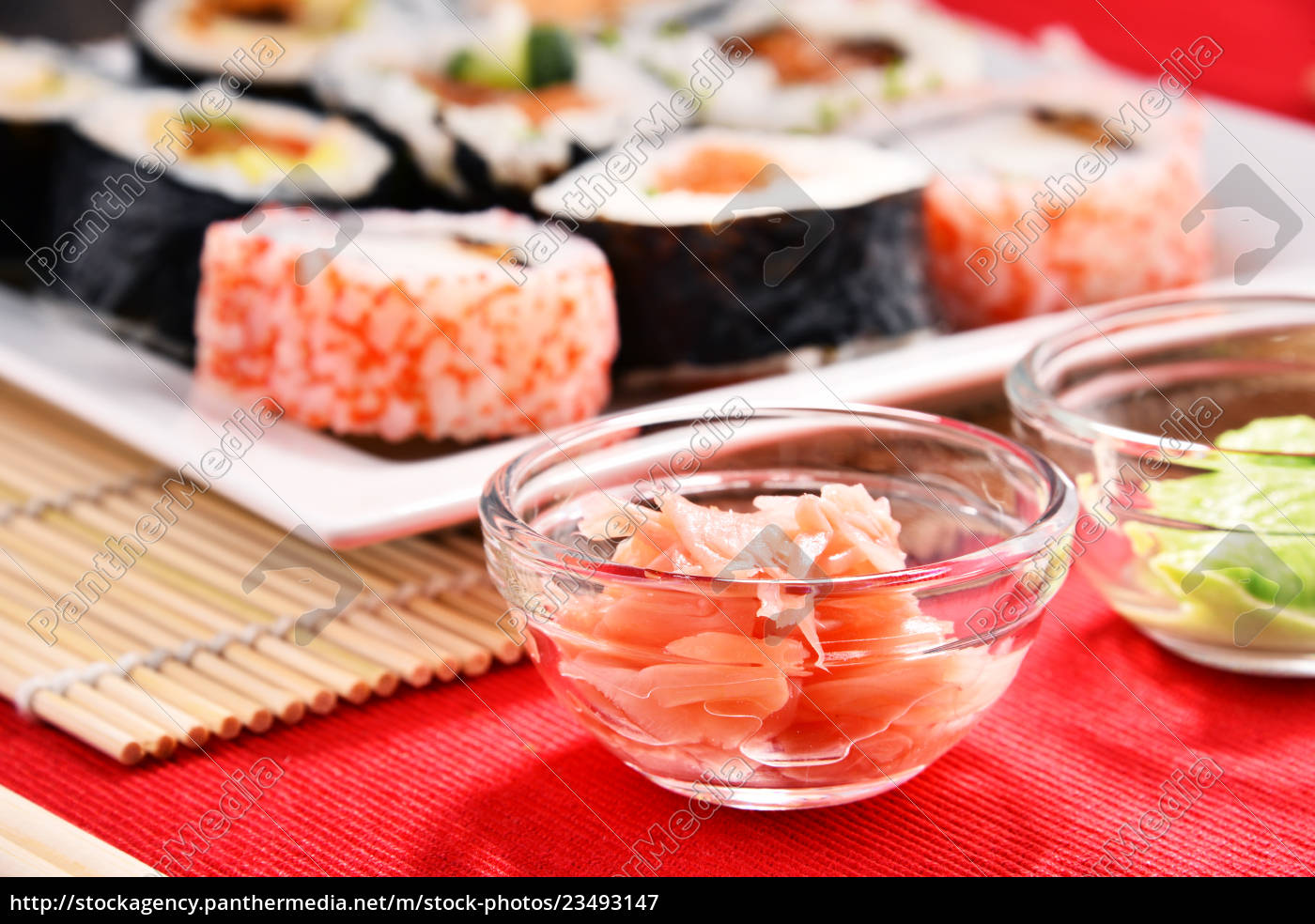 composition, with, assorted, sushi, rolls, and - 23493147