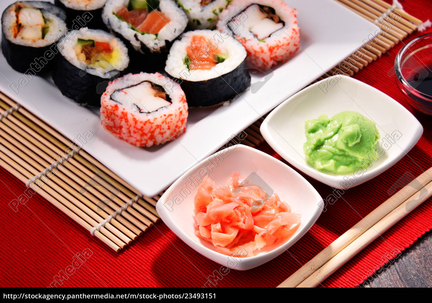 composition, with, assorted, sushi, rolls, and - 23493151