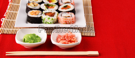composition, with, assorted, sushi, rolls, and - 23493155