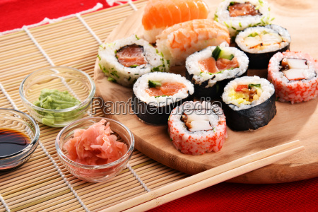 composition, with, assorted, sushi, rolls, and - 23493167