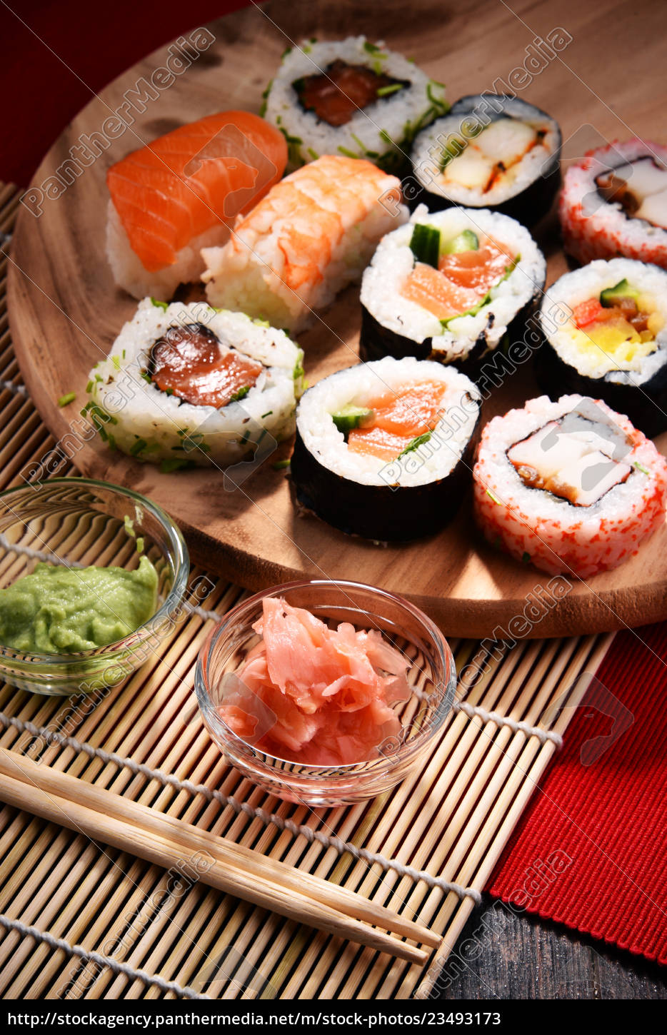 composition, with, assorted, sushi, rolls, and - 23493173