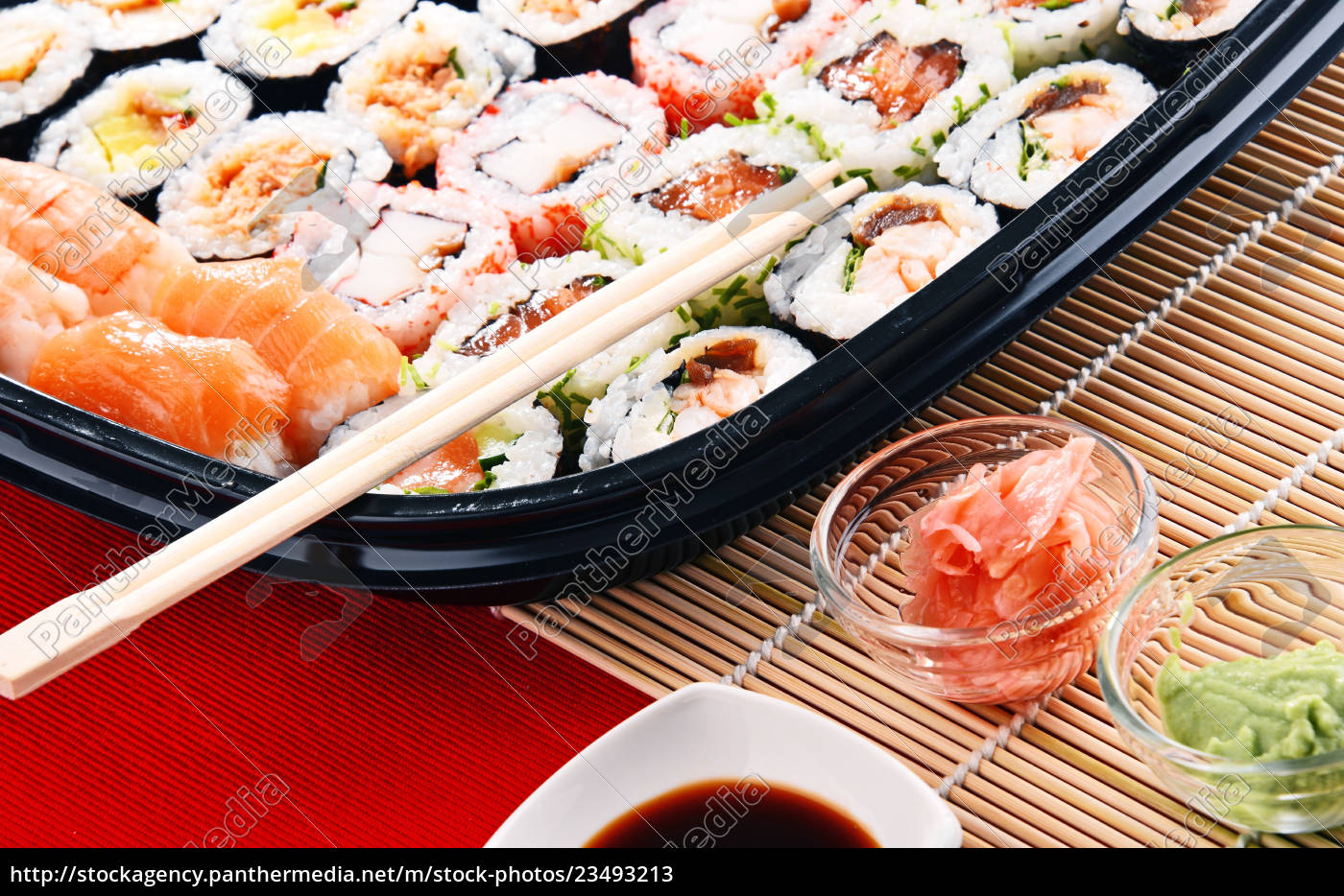 composition, with, assorted, sushi, rolls, and - 23493213