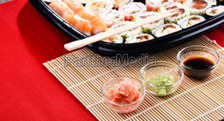 composition, with, assorted, sushi, rolls, and - 23493215