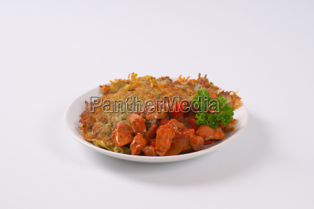 potato pancakes with spicy meat strips