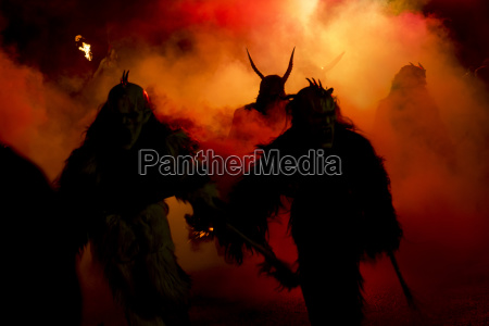 the traditional krampus masks in a