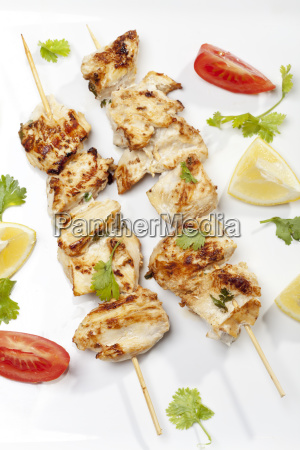 grilled chicken spit with cilantro