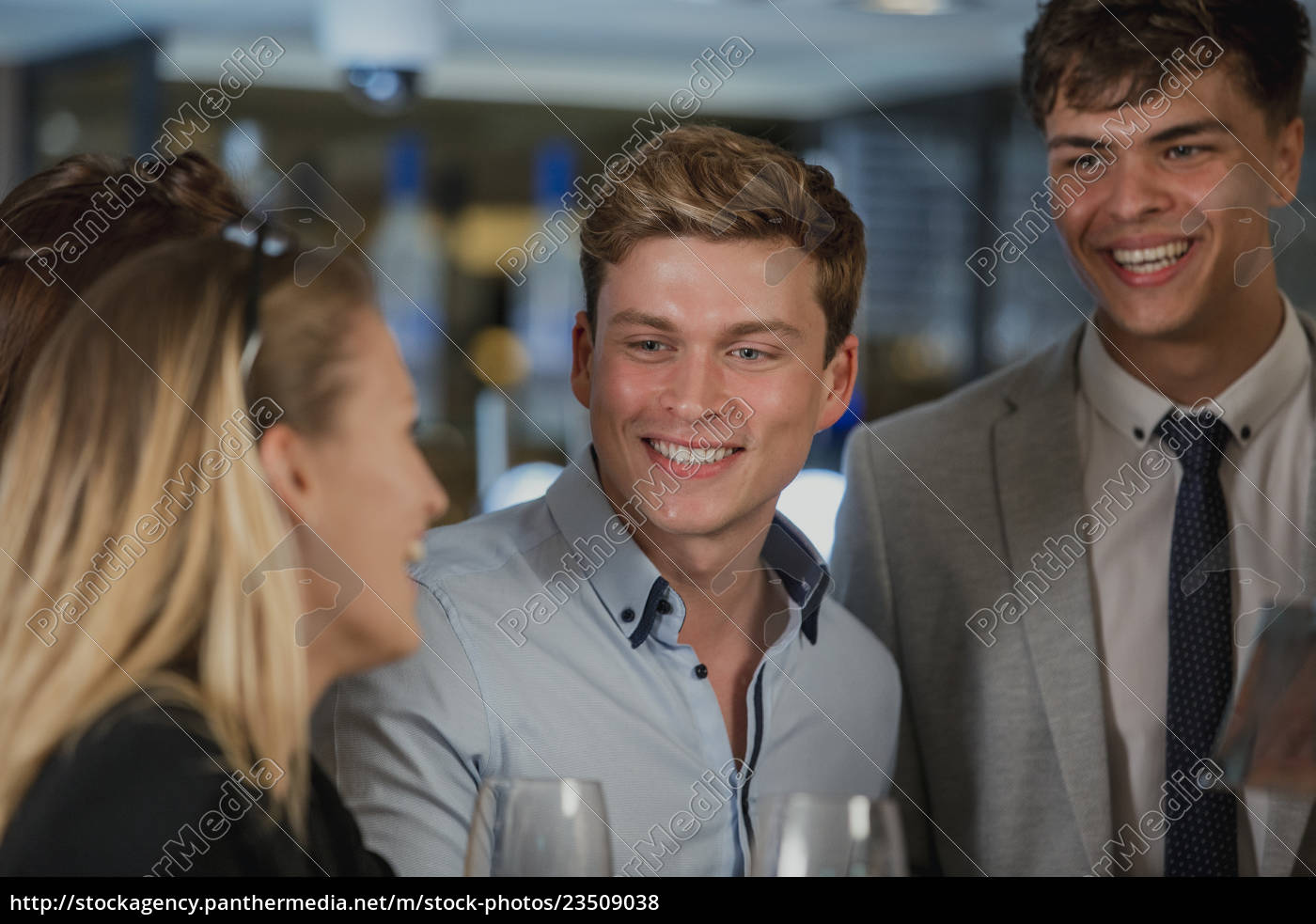 businesspeople, enjoying, after-work, drinks - 23509038
