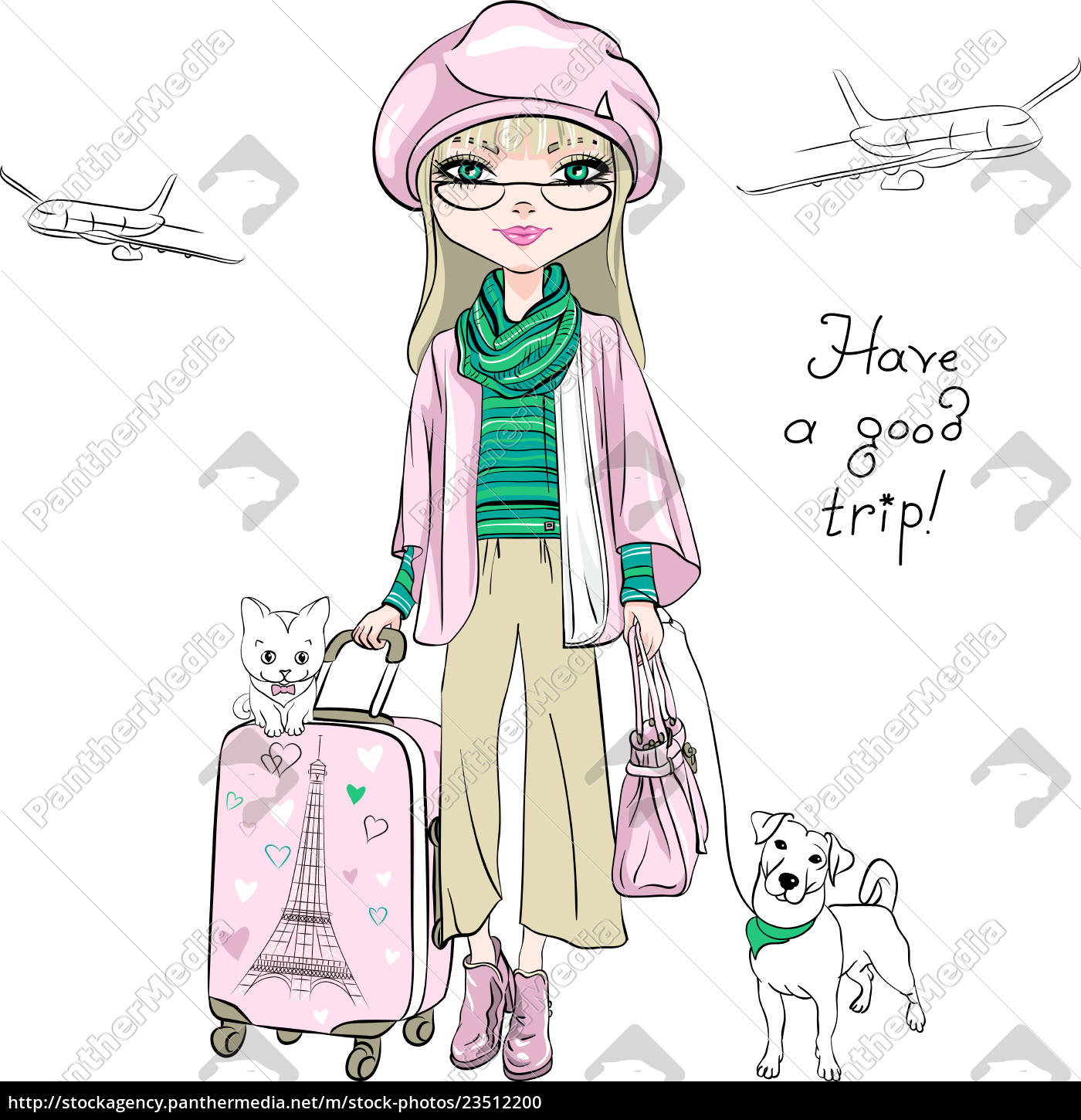 vector, beautiful, fashion, girl, travels, the - 23512200