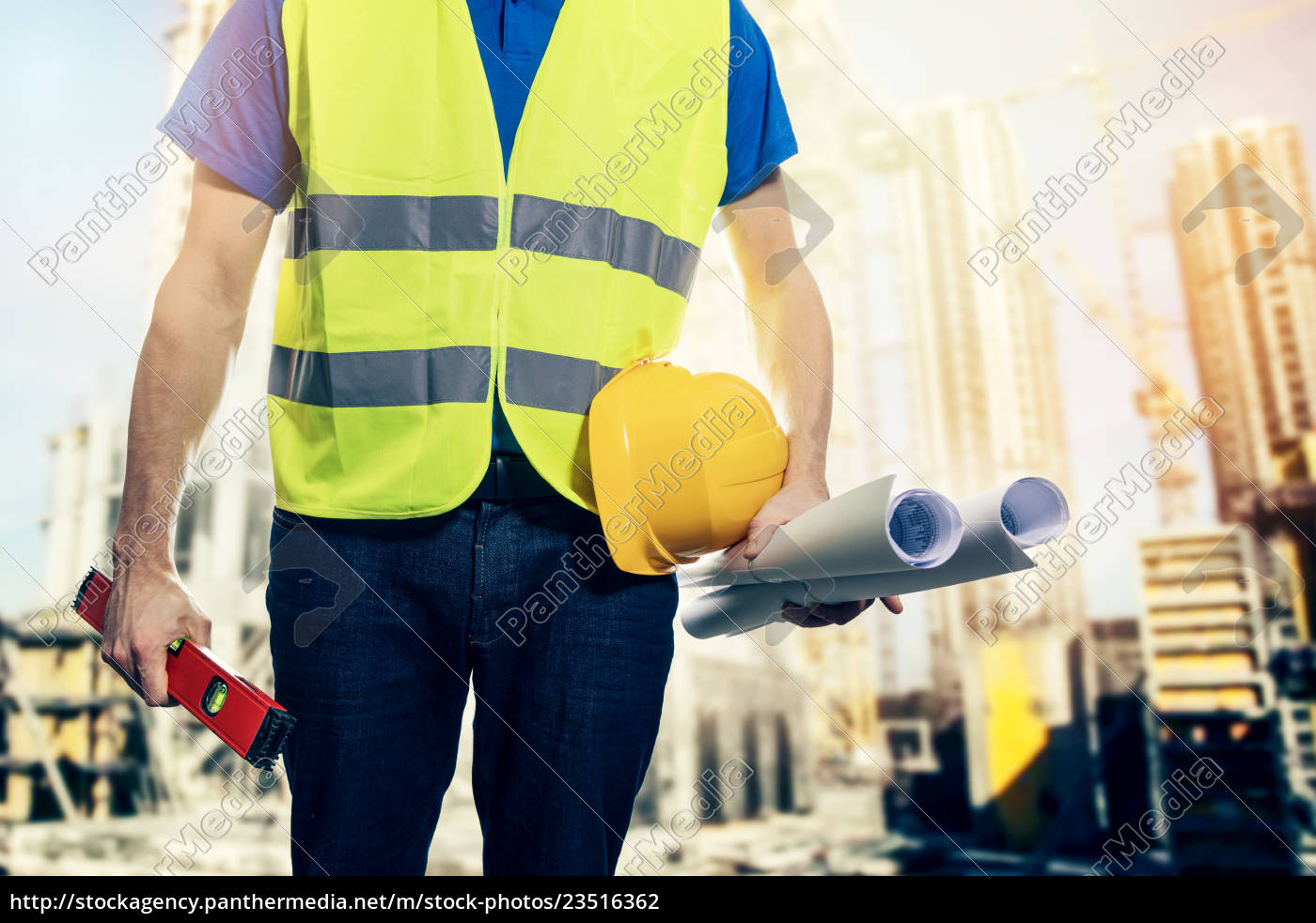 construction, engineer, with, safety, vest, and - 23516362