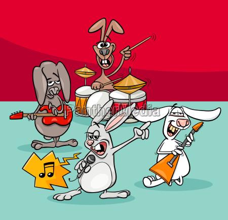 rabbits rock musicians band cartoon illustration