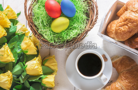 easter, breakfast, table, and, roses, bouquet - 23520602