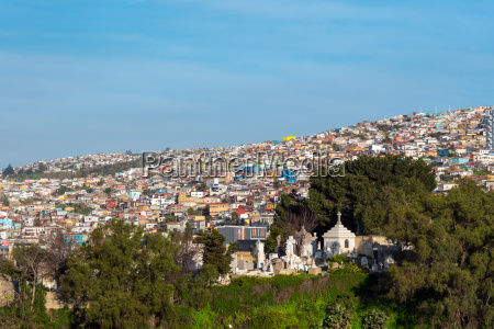 view over the colorful houses of