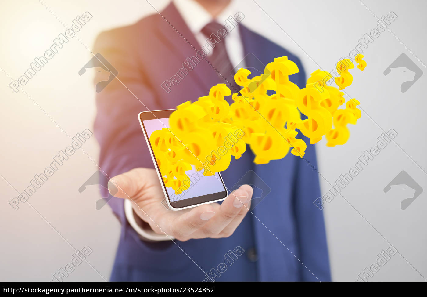 businessman, with, smartphone, with, yellow, dollar - 23524852