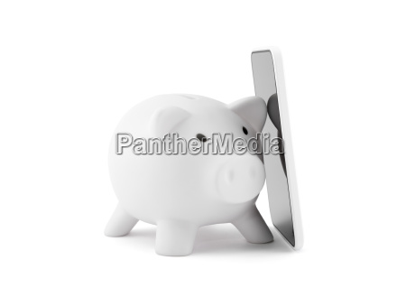 white, piggy, bank, with, mobile, phone - 23524834