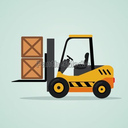 yellow forklift on blue background
