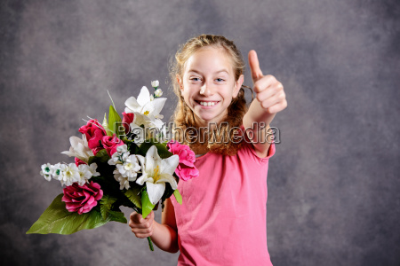 nice blond girl bouquet of flowers