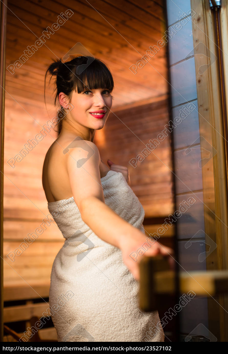 young, woman, relaxing, in, a, sauna, - 23527102