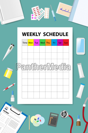 weekly schedule on the medical table