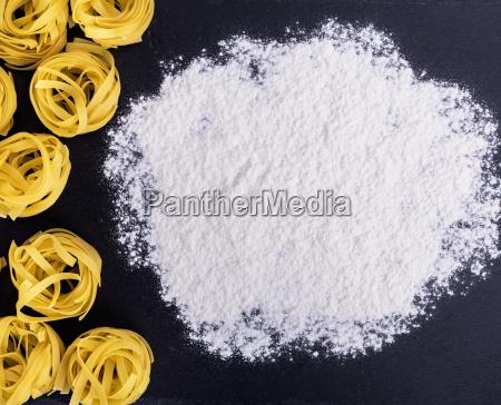raw pasta and white wheat flour