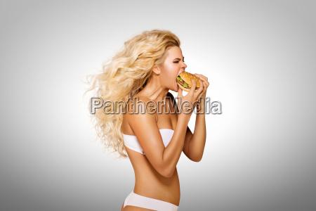 eating, burger. - 23538836