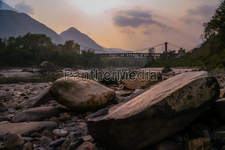 bridge in nepali mountains