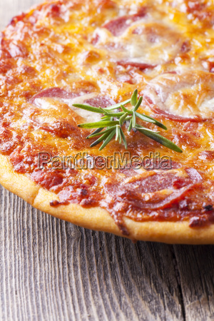 close up of a pizza on