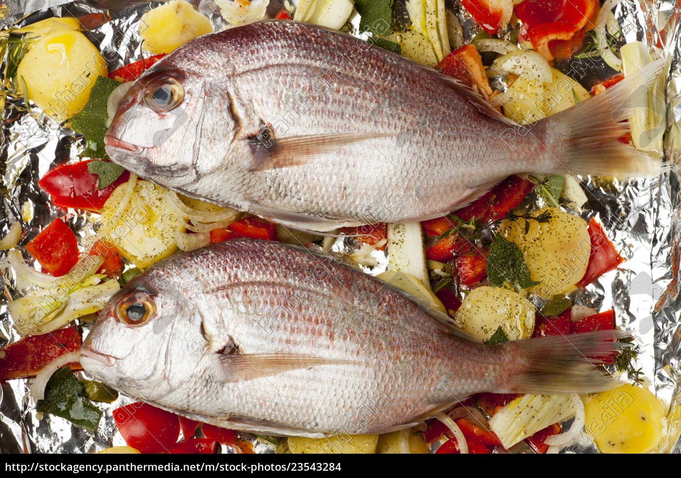 raw, bream, with, mixed, vegetables - 23543284