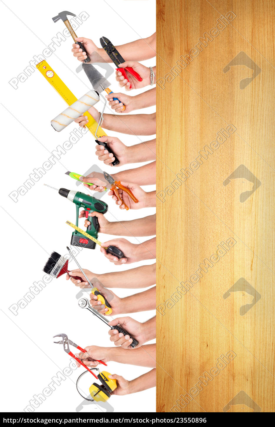 hands, with, construction, tools - 23550896
