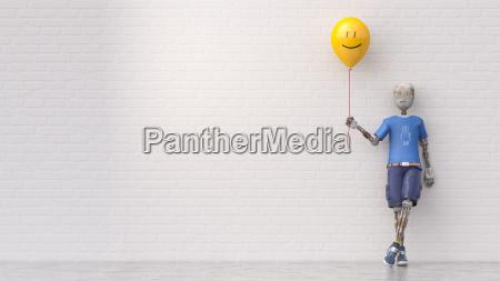 robot holding smiley balloon 3d rendering