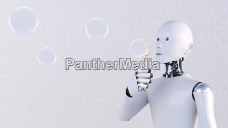robot blowing soap bubbles 3d rendering