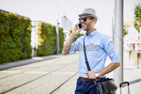 traveler in the city on the