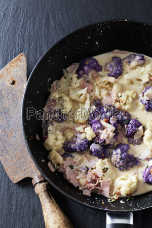 pan of cauliflower florets with cooked