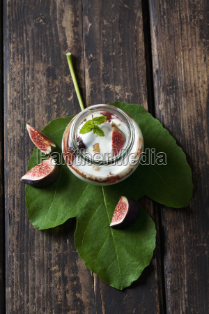 glass of mascarpone cream with fig