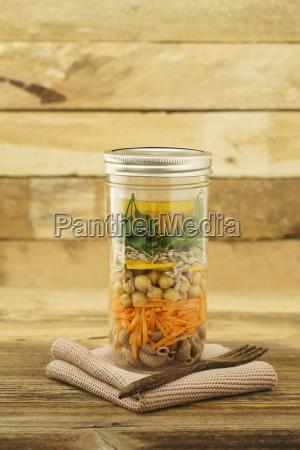 glass of vegan mixed salad with