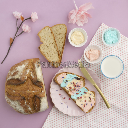 pastel colored cream cheese milk and